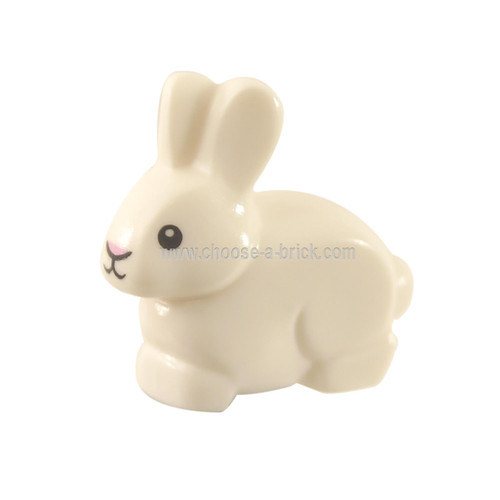 LEGO Minifigure -  White Bunny - Rabbit with Black Eyes and Mouth and Bright Pink Nose Pattern