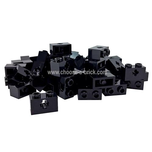 Technic, Brick 1 x 2 with Axle Hole black