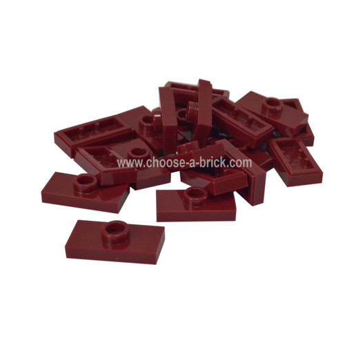Plate, Modified 1 x 2 with 1 Stud with Groove and Bottom Stud Holder (Jumper) dark red