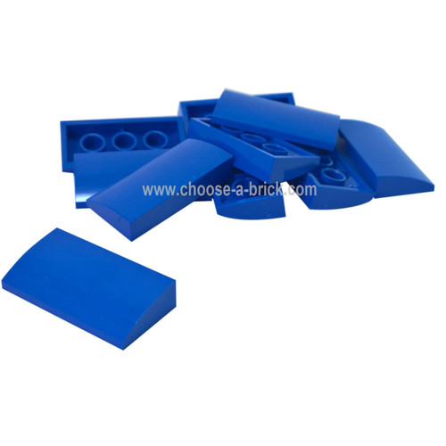 Slope, Curved 2 x 4 x 2/3 No Studs with Bottom Tubes blue