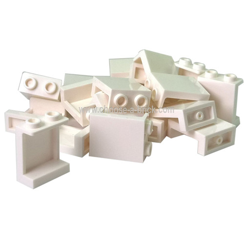 Panel 1 x 2 x 2 with Side Supports - Hollow Studs white