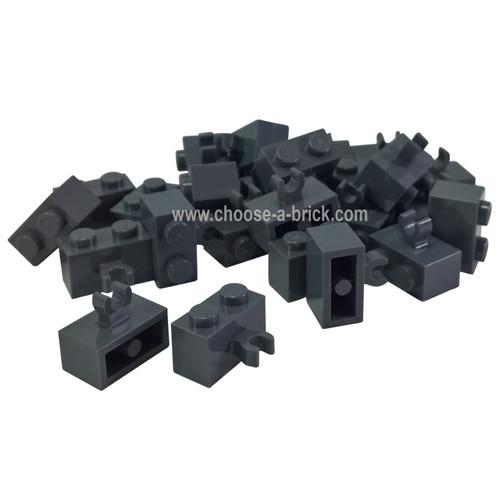 Brick, Modified 1 x 2 with Vertical Clip (thick open O clip) dark bluish gray