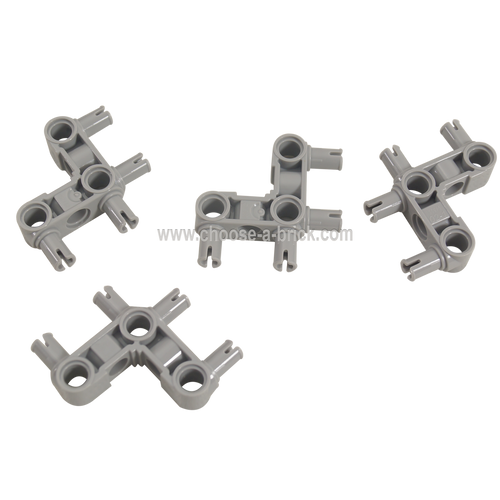 Technic, Pin Connector Perpendicular 3 x 3 Bent with 4 Pins light bluish gray