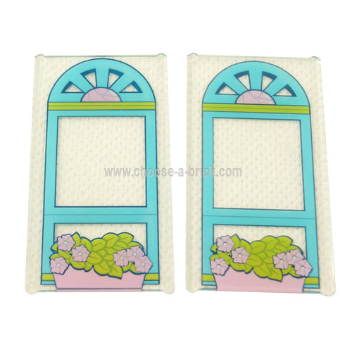 Trans-Clear Glass for Window 1 x 4 x 6 with Medium Azure Window Frame and Bright Pink Flower Box Pattern