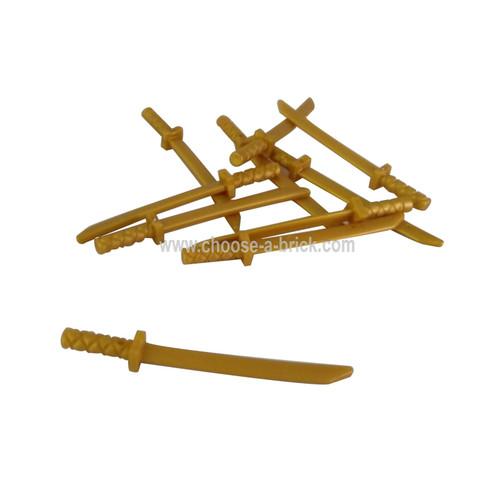 Minifig, Weapon Sword, Shamshir Katana pearl gold
