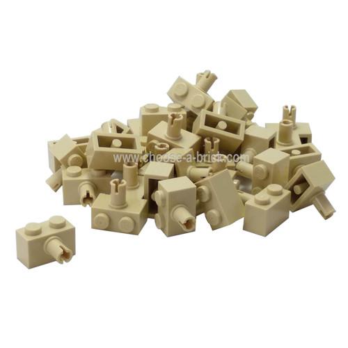 Brick, Modified 1 x 2 with Pin tan
