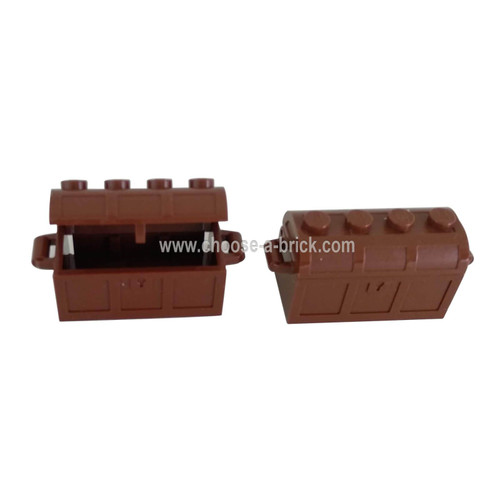 Container, Treasure Chest Bottom - Slots in Back with Same Color Container, Treasure Chest Lid - Thick Hinge (4738a / 4739a) Reddish Brown