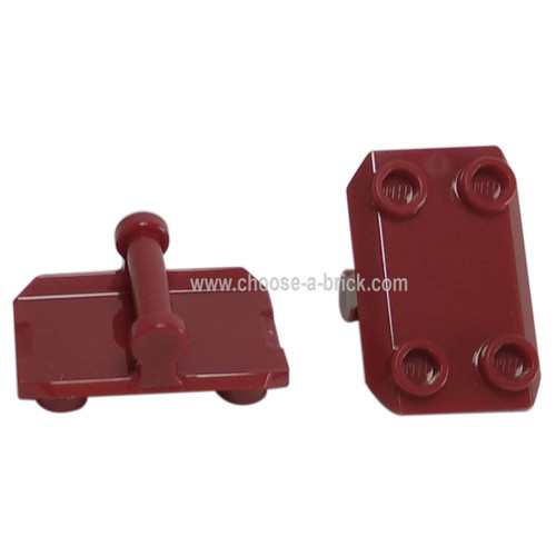 Plate, Modified 2 x 3 Inverted with 4 Studs and Handle on Bottom - Closed Ends (Rocker Plate) DArk red