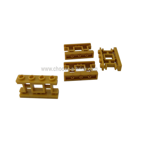 Fence 1 x 4 x 2 Ornamental Asian Lattice with 4 Studs pearl gold