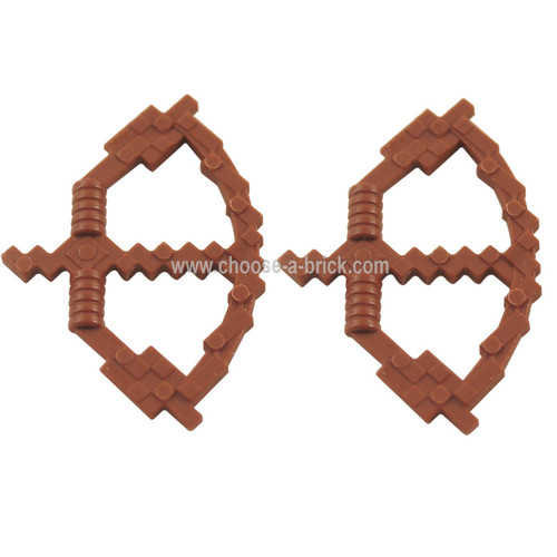 Minifigure, Weapon Bow with Arrow Pixelated (Minecraft) reddish brown