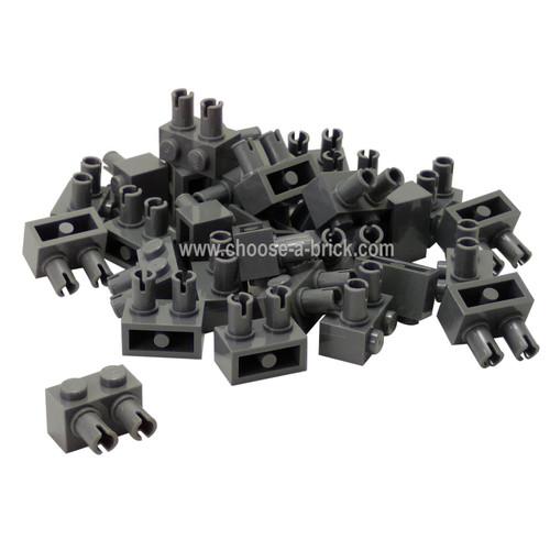 Brick, Modified 1 x 2 with Pins Dark Bluish Gray