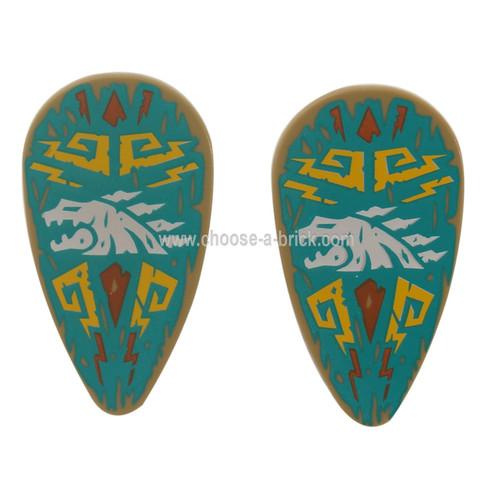 Dark Tan Minifigure, Shield Ovoid with White Dragon Head and Bright Light Orange Filigree on Dark Turquoise Background Pattern