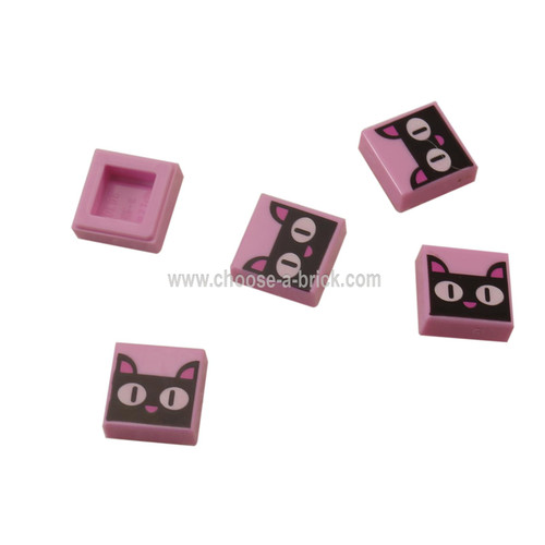 Bright Pink Tile 1 x 1 with Groove with Black Cat Head-Face, White Eyes and Dark Pink Ears and Nose Pattern