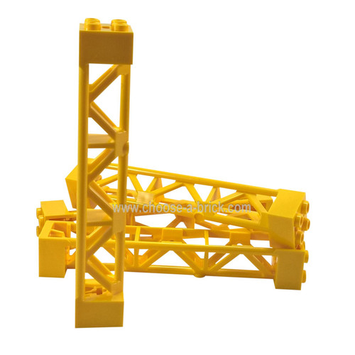 Support 2 x 2 x 10 Girder Triangular Vertical - Type 4 - 3 Posts, 3 Sections yellow