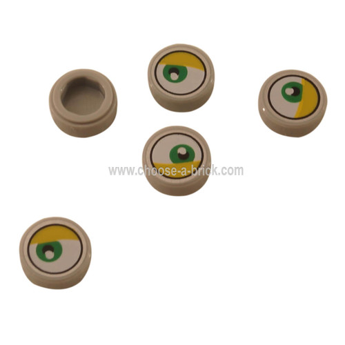 Light Bluish Gray Tile, Round 1 x 1 with Lateral Green Eye and Yellow Eyelid Pattern