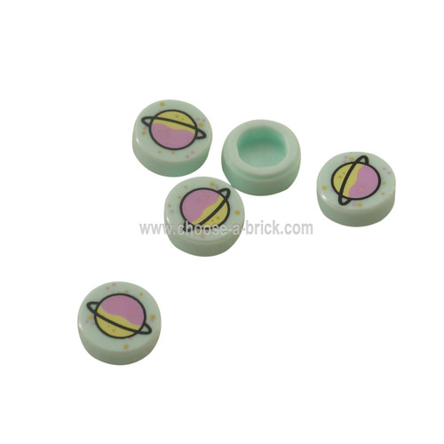 Light Aqua Tile, Round 1 x 1 with Lavender and Yellowish Green Planet with Ring and Gold and Metallic Pink Spots Pattern