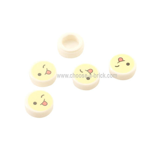 White Tile, Round 1 x 1 with Emoji, Bright Light Yellow Face, Wink, and Tongue Sticking Out Pattern
