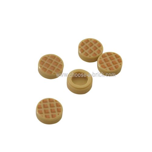 Tan Tile, Round 1 x 1 with Waffle, Nougat Squares with Medium Nougat Edges Pattern