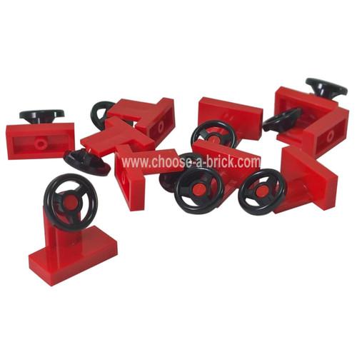 Vehicle, Steering Stand 1 x 2 with Black Steering Wheel red