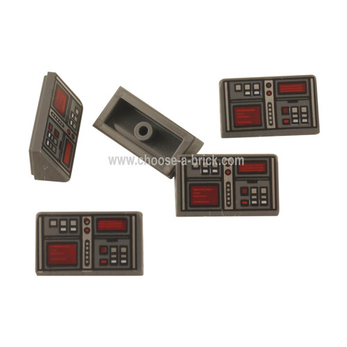Dark Bluish Gray Slope 30 1 x 2 x 2-3 with Red and White Buttons and Two Red Screens Pattern