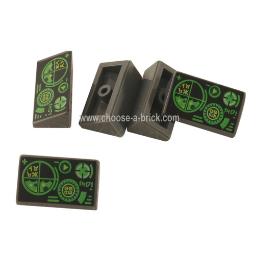 Dark Bluish Gray Slope 30 1 x 2 x 2-3 with Green Gauges and Radar Screen on Black Background Pattern