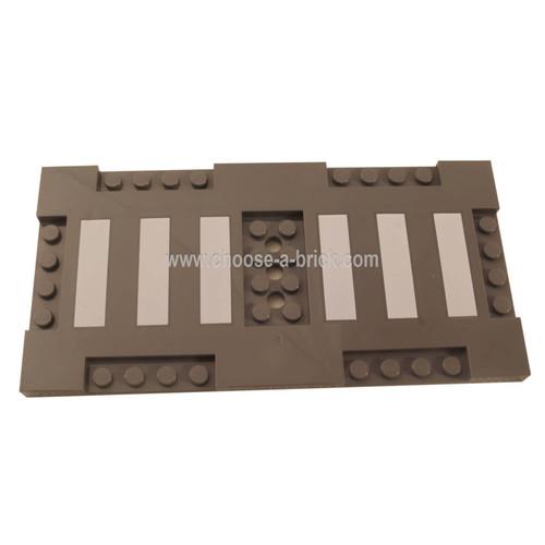 Dark Bluish Gray Brick, Modified 8 x 16 x 2-3 with 1 x 4 and 2 x 4 Indentations with 6 White Stripes Crosswalk Pattern