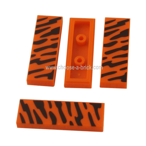 Orange Tile 1 x 3 with Black Wildcat Stripes Pattern