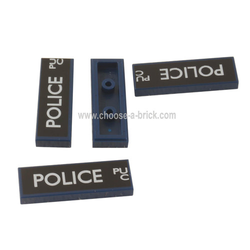 Dark Blue Tile 1 x 3 with White 'POLICE', 'PU', and 'C' Police Public Call Box on Black Background Pattern Left Side
