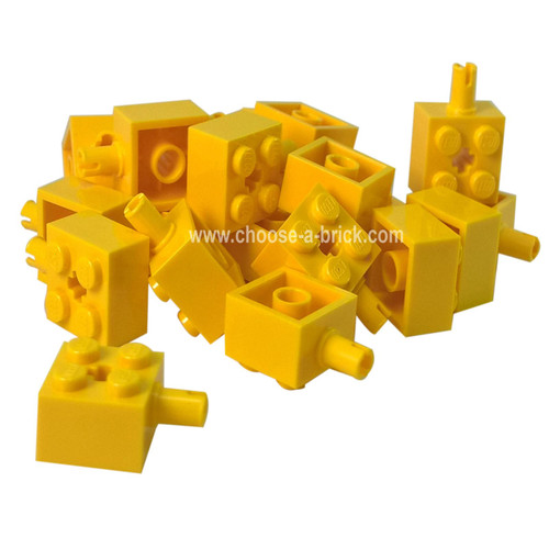 Brick, Modified 2 x 2 with Pin and Axle Hole yellow