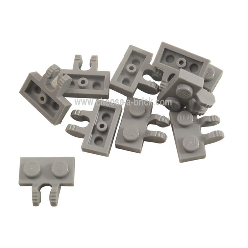 Hinge Plate 1 x 2 Locking with 2 Fingers on Side and 7 Te light bluish gray