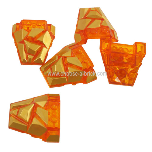 Trans-Orange Wedge 4 x 4 Fractured Polygon Top with G