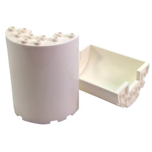 Cylinder Half 3 x 6 x 6 with 1 x 2 Cutout white