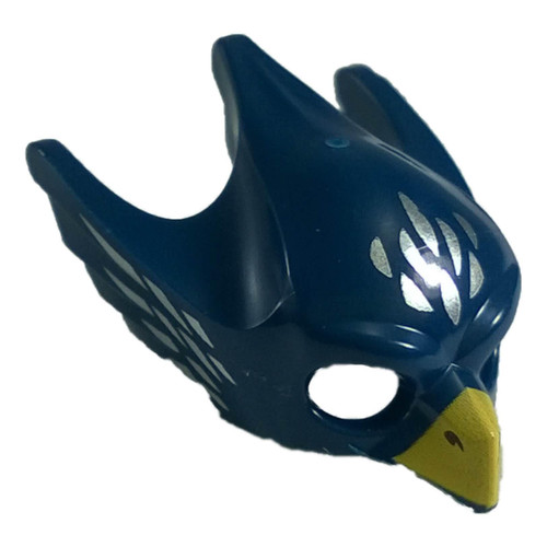 Dark Blue Minifig, Headgear Mask Bird (Eagle) with Yellow Beak and Silver Feathers Pattern