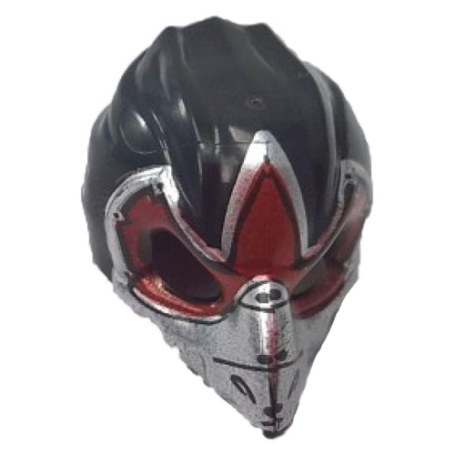 Black Minifig, Headgear Mask Bird Raven with Silver Beak and Dark Red Markings Pattern