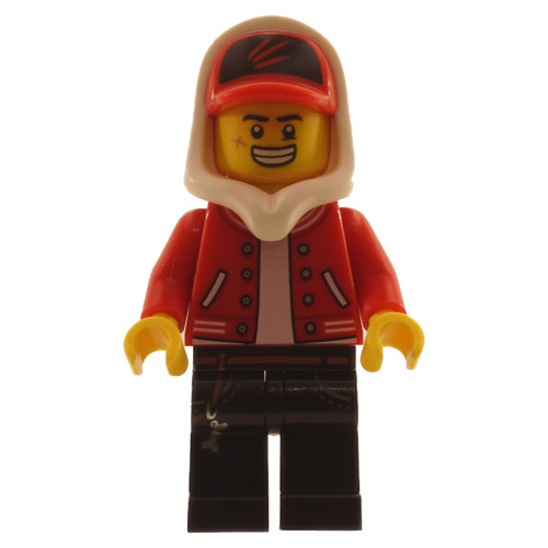 Jack Davids - Red Jacket with Cap and Hood Large Smile - Grumpy