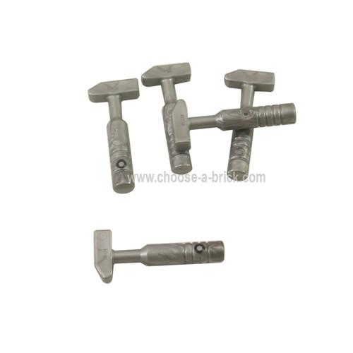 Minifig, Utensil Tool Cross Pein Hammer - 3-Rib Handle flat silver