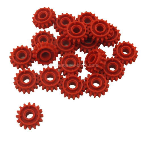 Technic, Gear 16 Tooth with Clutch on Both Sides red
