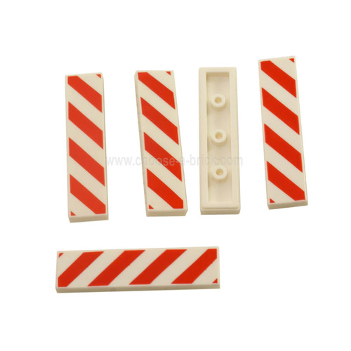 White Tile 1 x 4 with Red and White Danger Stripes Red Pattern