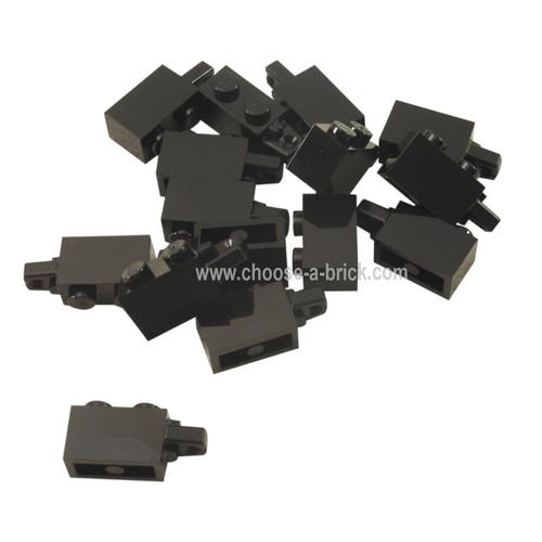 Hinge Brick 1 x 2 Locking with 1 Finger Horizontal End black