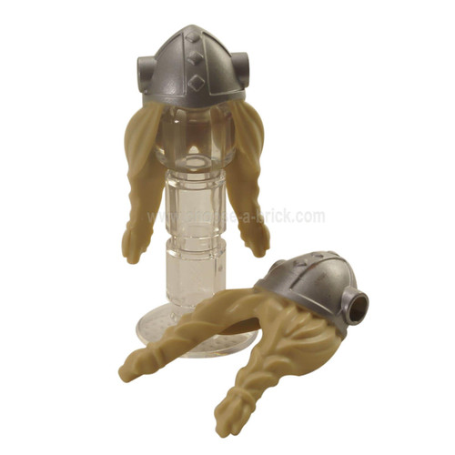 Minifigure, Hair Long with Metallic Silver Viking Helmet with Side Holes Pattern