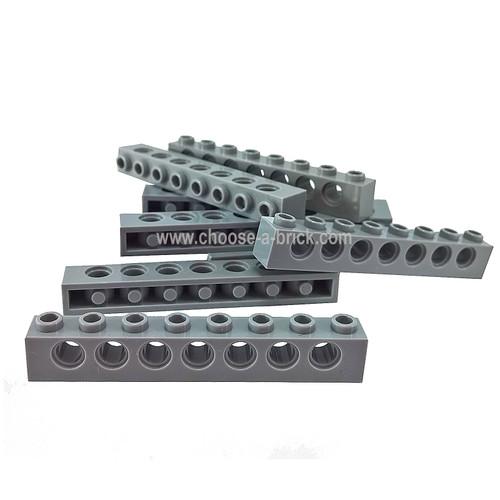 Technic, Brick 1 x 8 with Holes dark bluish gray