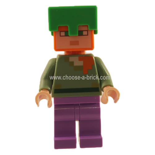 Alex with turtle shell helmet and enchanted pants - LEGO Minifigure minecraft
