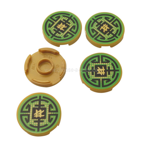 Pearl Gold Tile, Round 2 x 2 with Bottom Stud Holder with Black Circular Lines on Green Background Pattern