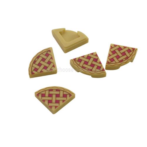 Tan Tile, Round 1 x 1 Quarter with Lattice Pie Pattern
