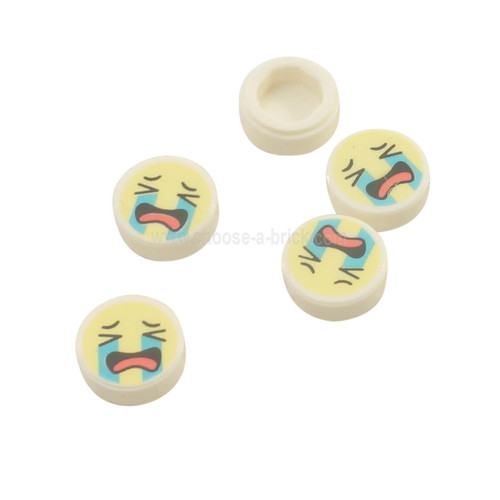 White Tile, Round 1 x 1 with Emoji, Bright Light Yellow Face, Crying Medium Azure Tear Streams, Open Mouth with Coral Tongue Pattern
