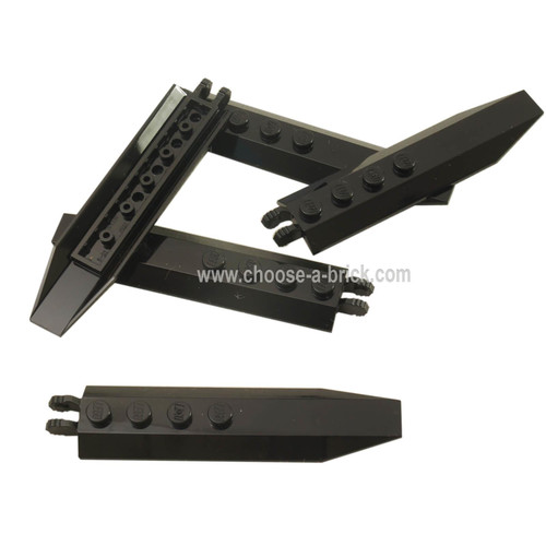 Hinge Plate 1 x 8 with Angled Side Extensions, Squared Plate Underside black