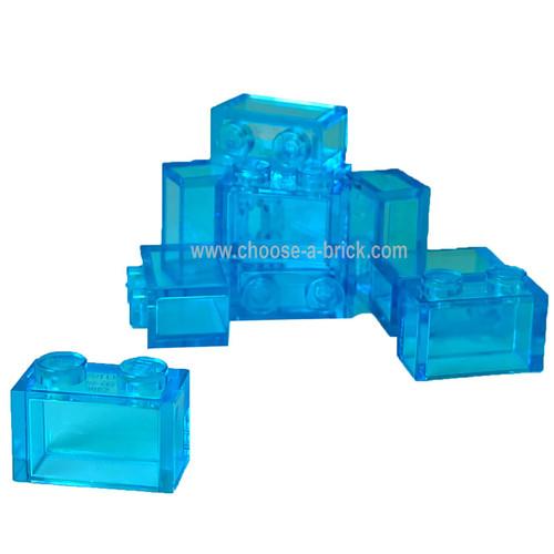 Brick 1 x 2 without Bottom Tube trans light blue