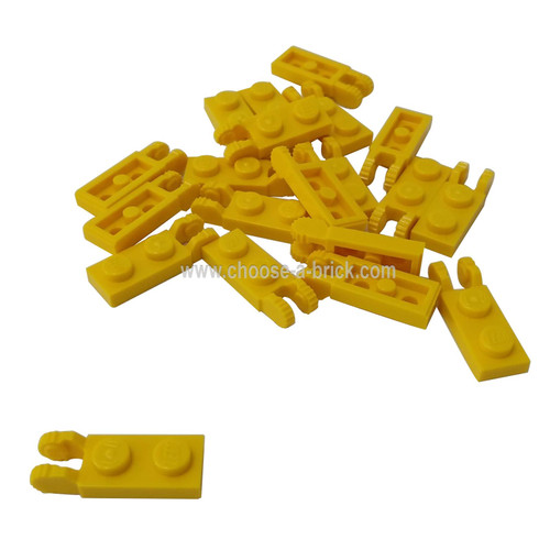 Hinge Plate 1 x 2 Locking with 2 Fingers on End without Bottom Groove yellow