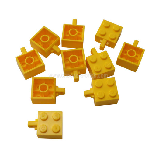 Hinge Brick 2 x 2 Locking with 1 Finger Vertical yellow