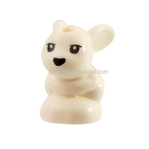 White Bunny - Rabbit, Friends, Baby, Sitting with Black Eyes and Nose Pattern Chili - Mini - Minu